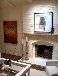 White Brick Fireplace - Transitional - living room ...