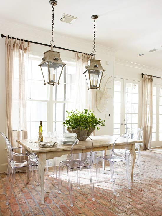 Brick Floor Kitchen  French  dining room  BHG