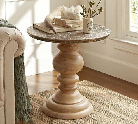 living rooms tables small room makeover photos lillie pedestal accent table - pottery barn