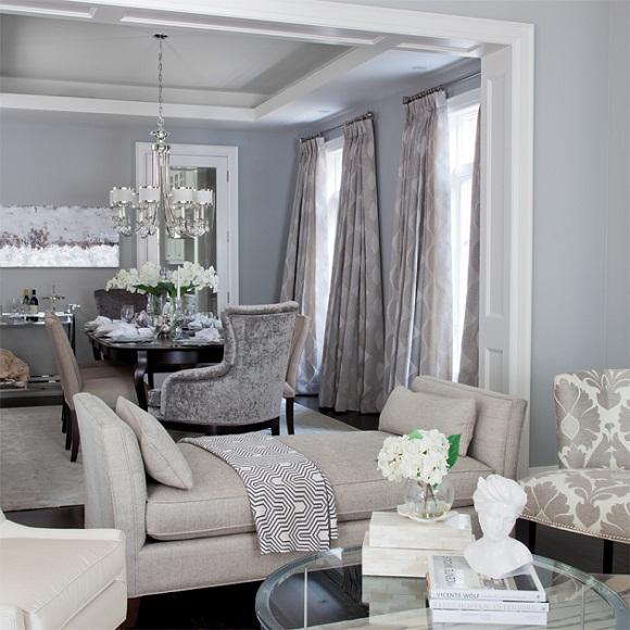 modern cabriole sofa low arms gray and blue living room - contemporary dining ...