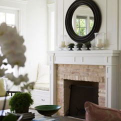 Blue Sofa White Piping Leather Red Fireplace Mirror - French Living Room Melissa Miranda ...