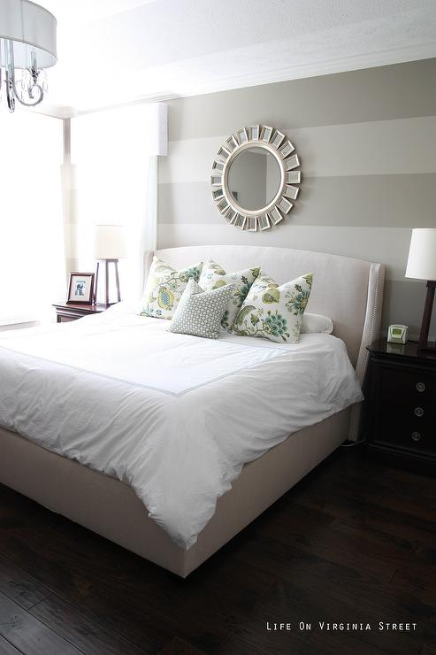 Bedroom With Gray Striped Walls