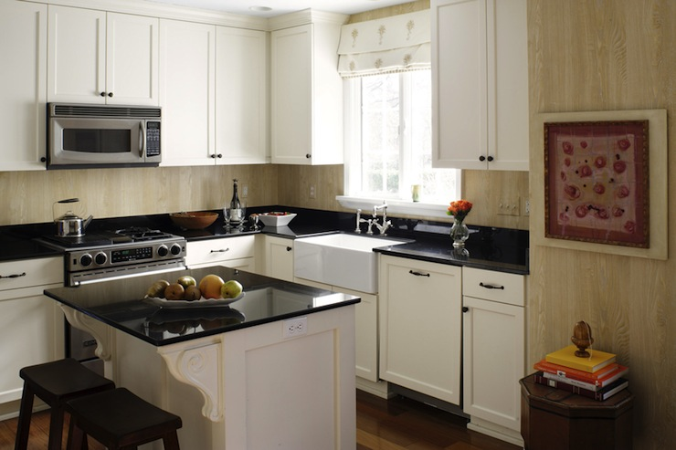 kitchen window treatments above sink counter shelf faux bois wallpaper - transitional suellen gregory