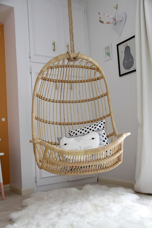 hanging rattan chair philippe starck two s company contemporary girl room la