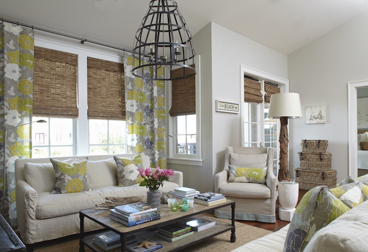 Gray And Yellow Curtains Cottage Living Room Tracery