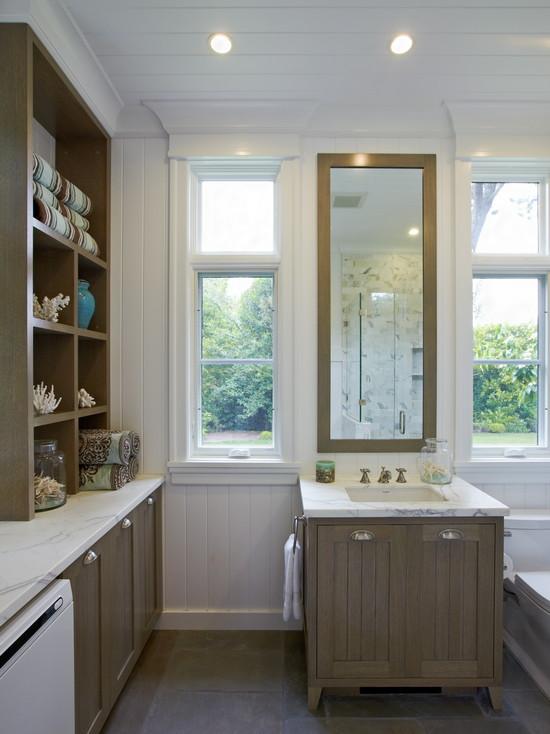 Taupe Bathroom Cabinets  Cottage  bathroom  Polsky