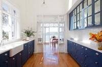 Blue Galley Kitchen
