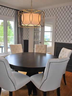 dining table contemporary pedestal troy chairs nailhead sausalito trim round espresso tufted brass pendant wainscoting rooms gray quatrefoil pendants designs