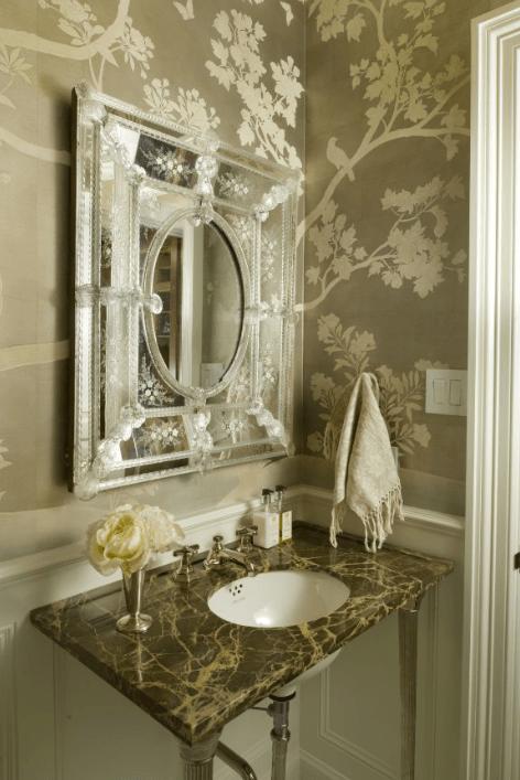 Venetian Mirror  French  bathroom  Munger Interiors