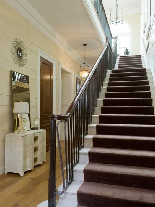 Chocolate Brown Stair Runner  Cottage  entrancefoyer