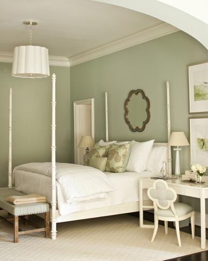 pale green color scheme for bedroom White Four Poster Bed - Transitional - bedroom - Phoebe Howard