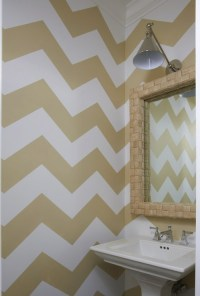 Gold Chevron Walls - Contemporary - bathroom - Lynn Morgan ...