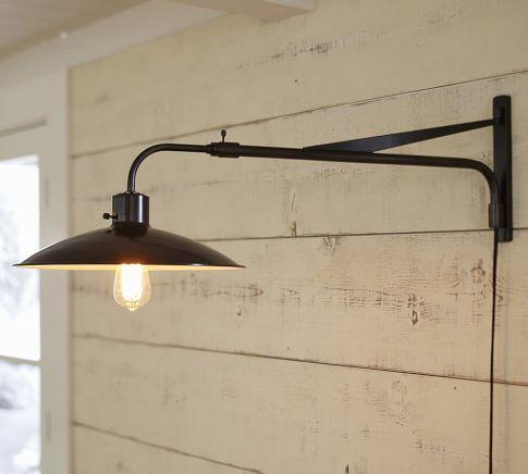 pottery barn kitchen rugs bar stools alameda swing-arm sconce -