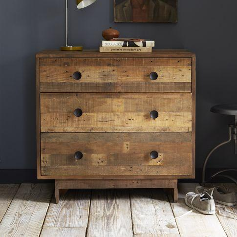 Emmerson Reclaimed Wood 3Drawer Dark Brown Dresser