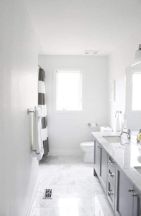 Gray Walls  Contemporary  bathroom  Benjamin Moore