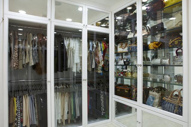Glass Front Doors  Contemporary  closet  LA Closet Design