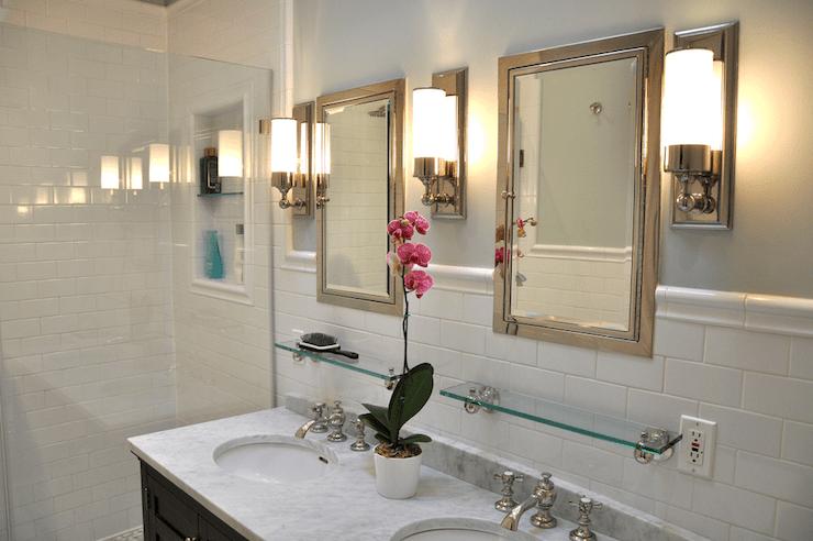 Marble Double Vanity  Traditional  bathroom  Benjamin Moore Quiet Moments  Brooklyn Limestone