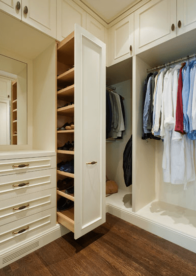 Sliding Shoe Cabinet  Traditional  closet  Sutro Architects