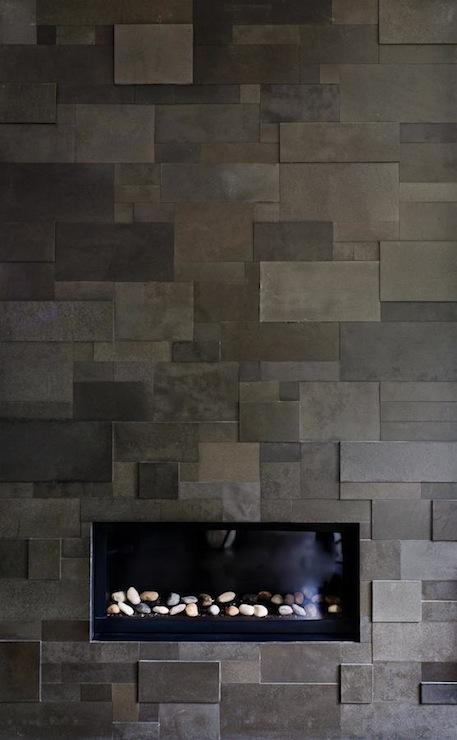 gray slate fireplace tiles design ideas