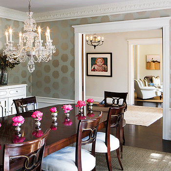 gray upholstered dining chairs double papasan chair frame gold leaves chandelier - eclectic room atlanta homes & lifestyles
