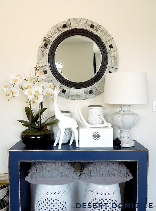 Blue Console Table  Eclectic  entrancefoyer  Valspar