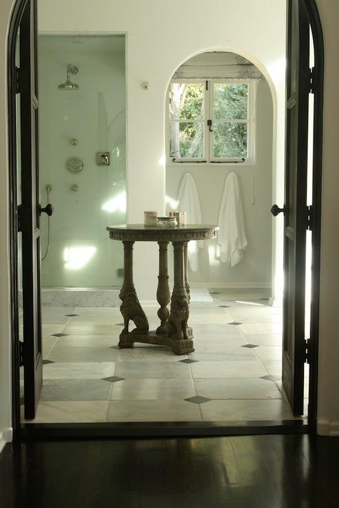 Arched Water Closet Doorway  Mediterranean  bathroom