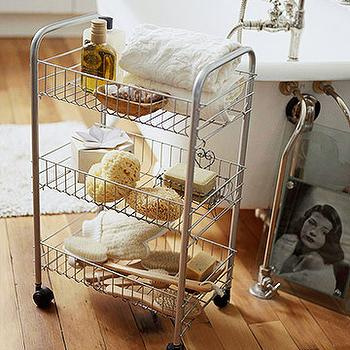 newbury chrome rolling bath cart