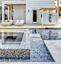 Swimming Pool with Mosaic Tiles - Cottage - pool - Beach ...