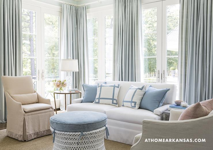 rose sofa slipcover extra deep sectional blue curtains - transitional bedroom at home in arkansas