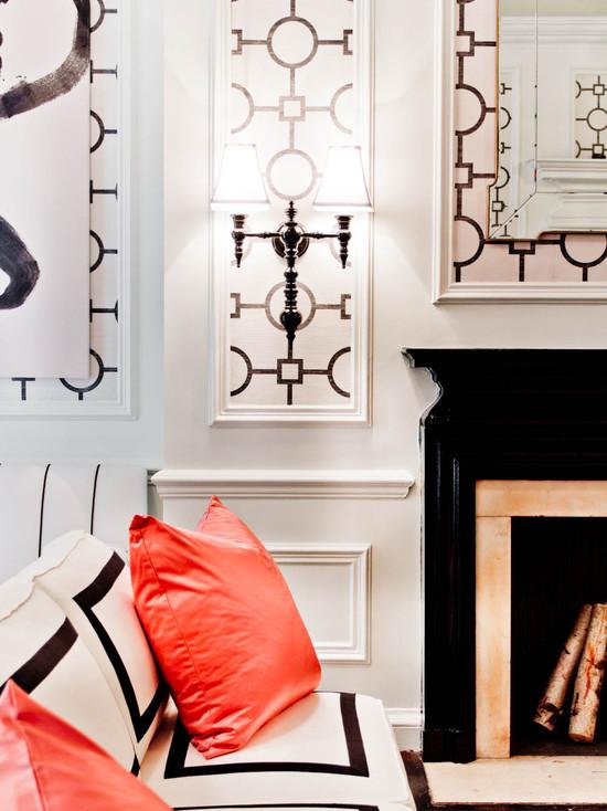 Black And White Living Room Hollywood Regency Living