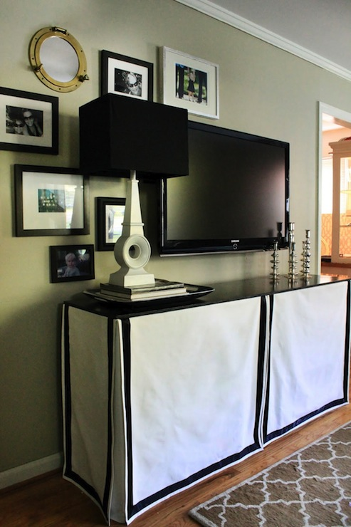 Skirted Media Console Eclectic Living Room The Hunted Interior