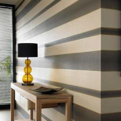 Navy Blue And Chocolate Brown Living Room Morden Chocolate, Cream, Gold Stripe Wallpaper - Graham &