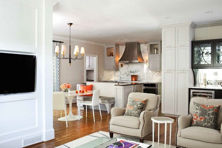 oval kitchen table sets marble built in tv nook - contemporary terracotta studio