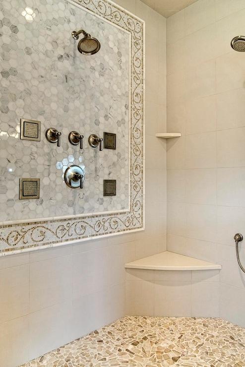 Mosaic Marble Shower Surround  Transitional  bathroom