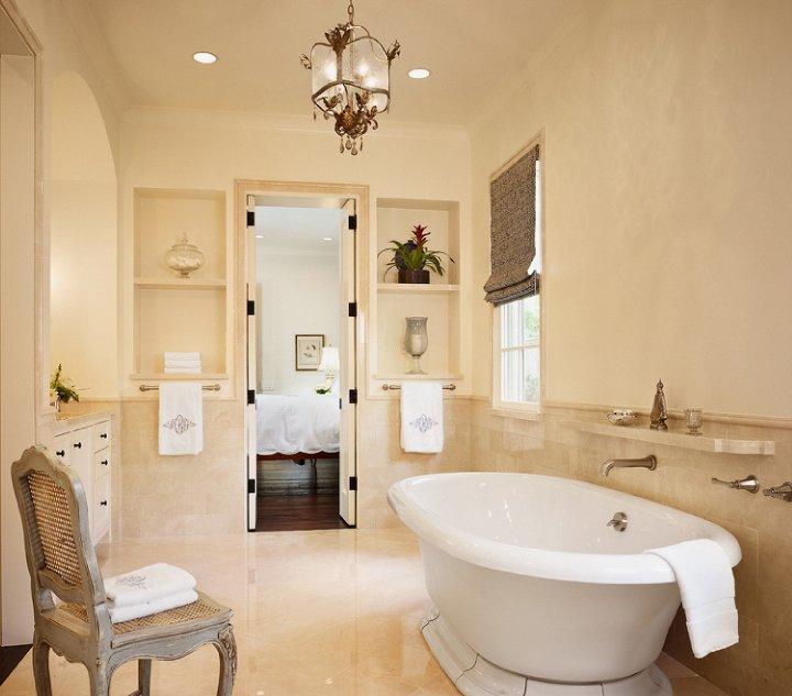 Crema Marfil Marble Mediterranean Bathroom Dillon