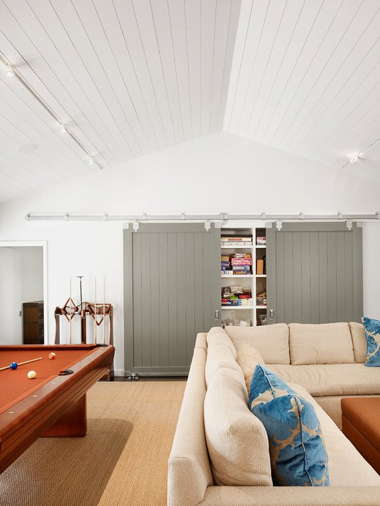 room and board sectional sofa brown leather modern decorating ideas gray barn doors - transitional media dillon kyle ...