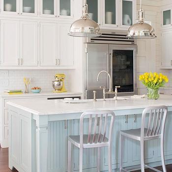White and Turquoise Blue Kitchen  Cottage  kitchen  BHG