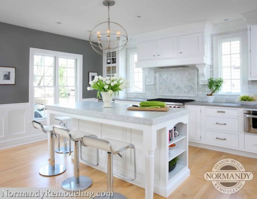 Kitchen With Gray Paint Color