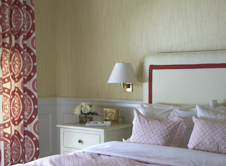 tan and red bedroom cottage bedroom