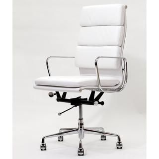 High Back White Leather Executive Office Chair  Overstockcom