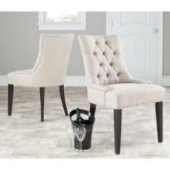 Dining Chairs Overstock Fire Pit Table And Marseille Grey Linen Nailhead Set Of 2 Com