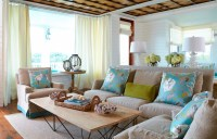 Brown and Turquoise Living Room - Cottage - living room ...