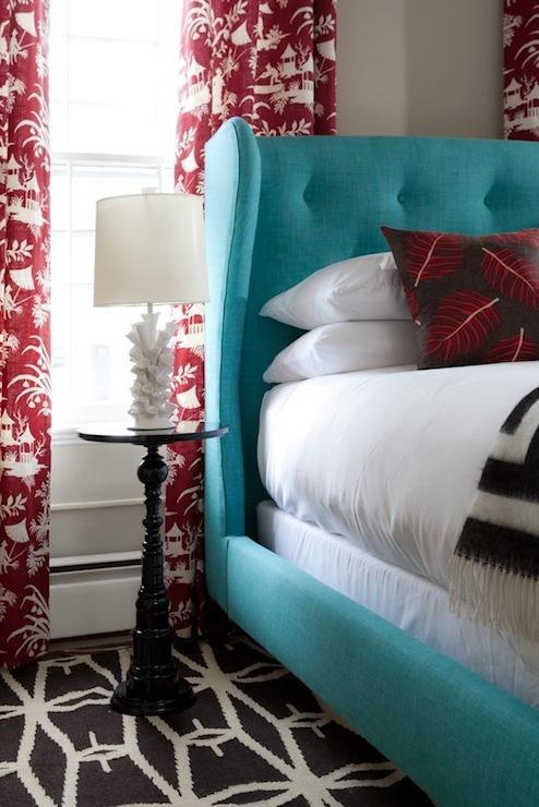 Turquoise Headboard Eclectic Bedroom Rachel Reider