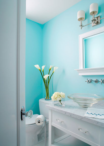 Aqua Powder Room Cottage Bathroom Elizabeth Kimberly