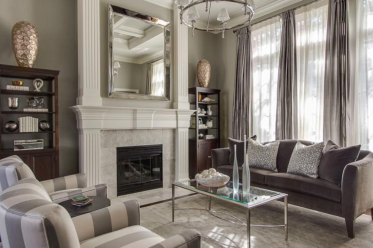 Gray Living Room  Transitional  living room  EJ Interiors
