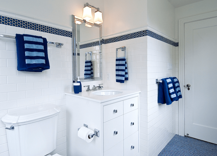 3d Wallpaper Subway Tile White Blue Boy S Bathroom Cottage Bathroom Tamara Mack Design