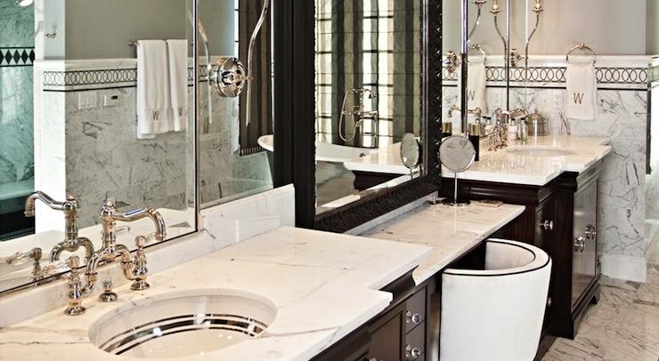 His and Her Vanities  Transitional  bathroom  Elizabeth