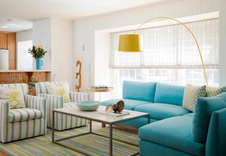 Turquoise Sectional Sofa  Cottage  living room  Amanda