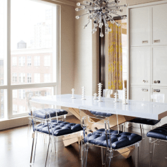 Acrylic Chairs With Cushions Ground Blind Chair Lucite Modern Dining Room Amanda Nisbet Design