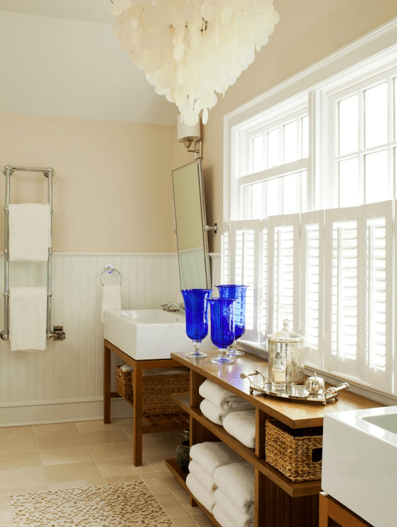 Cobalt Blue Accents  Cottage  bathroom  Amanda Nisbet Design
